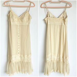 Vintage Pleated Cream Slip Dress